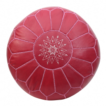 Moroccan Pouffe Pouf Ottoman Footstool COVER ONLY or STUFFED Pink Rose Leather